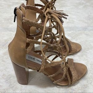Steve Madden Tan Caged Block Heels Size 7.5